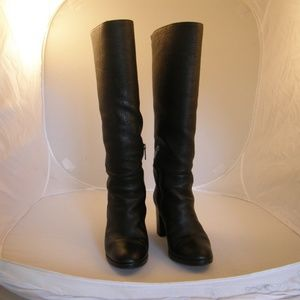 Aquatalia Shearling Black Knee Boots, Size 9M